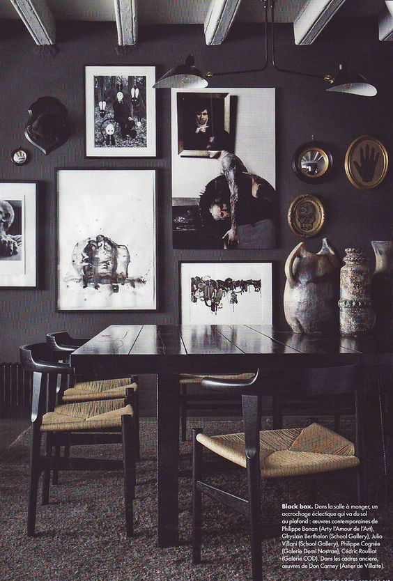 """from """"Elle Decoration"""", décembre 2013, dining-room, modern, black"""