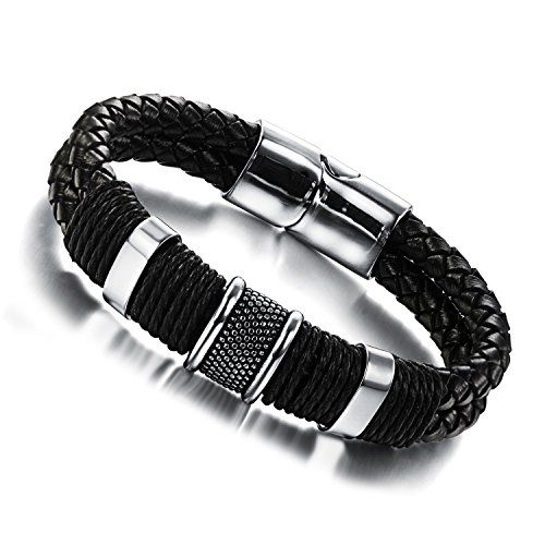 """8"""", KONOV Leather Mens Bracelet Stainless Steel Charms Clasp, Black Silver - 8 inch"""