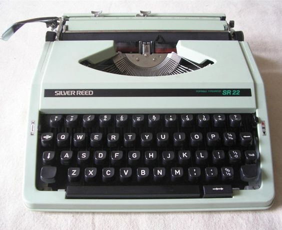 Vintage working Portable Typewriter, Silver Reed, SR22, Mint Green, with case. £45.00, via Etsy.