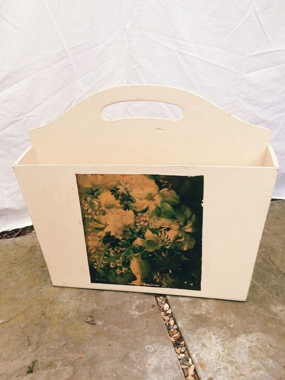 Vintage 1940s 1950s Painted Wood Magazine Rack with Decoupage Flower Picture | eBay