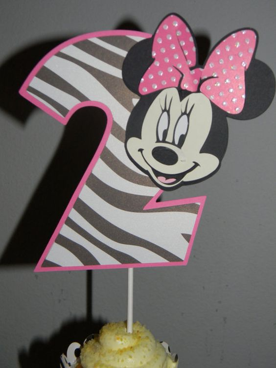 Minnie Mouse Cake Topper  Pink/Zebra by YourPartyShoppe on Etsy