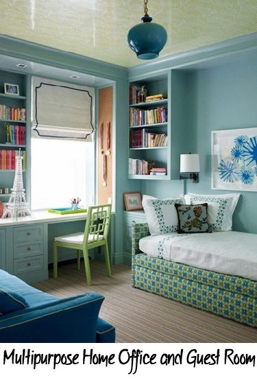 Many people do not need a guest room all of the time, so they combine a guest room with a home office so the space is not wasted.  Here are a few tips and tricks for making a multipurpose home office and guest room in one room. OrganizedEver...