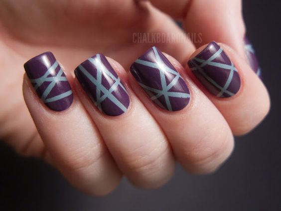Laser tape manicure done with striping tape