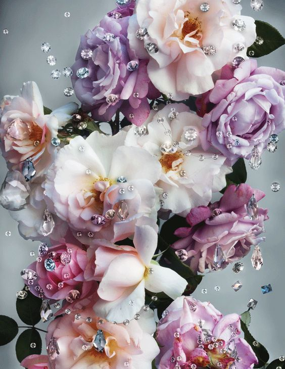 """The campaign designer, Ronnie Cooke Newhouse, says: """"I saw a common thread between the natural beauty of flowers, which need light in order to grow and be seen and the finely crafted beauty of crystals which come alive in the light."""""""