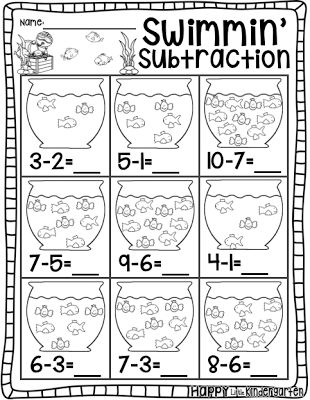Subtraction Color By Number Kindergarten | Loisary Subtraction ...