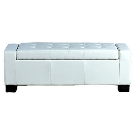 Found it at Wayfair - Guernsey Leather Storage Ottoman in Cream
