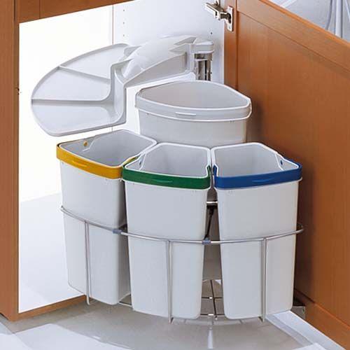 Poubelle rotative tri s lectif pour meuble d 39 angle - Poubelle recyclage cuisine ...