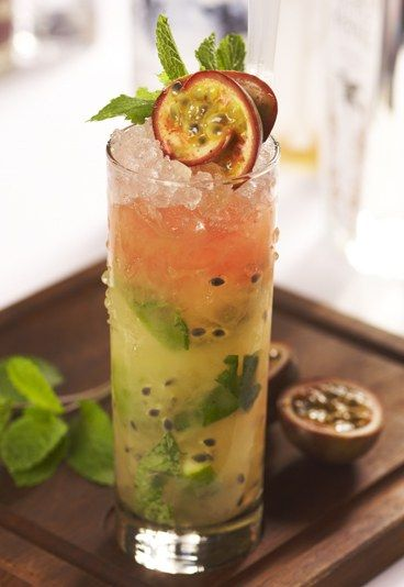 ~PASSION FRUIT MOJITO~ Ingredients: 75 ml Havana Club® dark rum, 1 tsp(heaped) Muscovado sugar, 6 lime wedges, 10-12 mint leaves, 50 ml passion-fruit puree, 50 ml soda, 2/3 of a glass crushed ice. Crush well the limes, sugar, soda, 8 to 10 mint leaves and a tsp of crushed ice. Then add rest of ice with passion fruit and rum. Mix vigerously for one minute. Garnish with rest of mint and a straw.