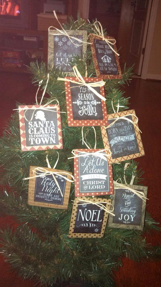 Chalkboard art Christmas ornament by SweetHomeCrafting on Etsy