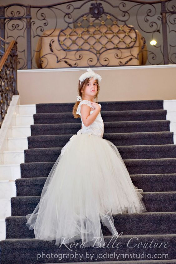 Ivory Flower Girl Dress With Detachable by KoraBelleCouture, $155.00