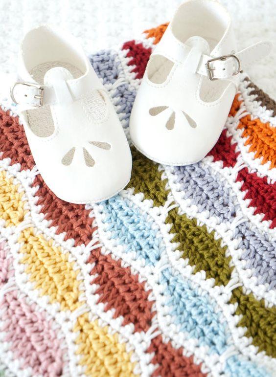 Crochet Blanket Pattern, Baby Afghan, Newborn Shawl, Multicolored ...