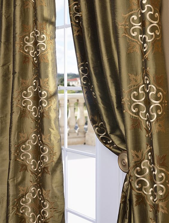 Cassandra Sage Green Thai Silk Curtains Drapes