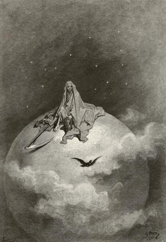 Sueño, de El cuervo de Allan Poe, publicación de 1884 (póstuma, después de la muerte de Dore):