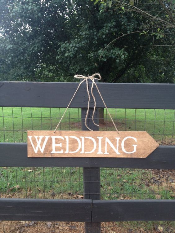Wedding Sign with Arrow - Rustic Wedding - Wedding Signage