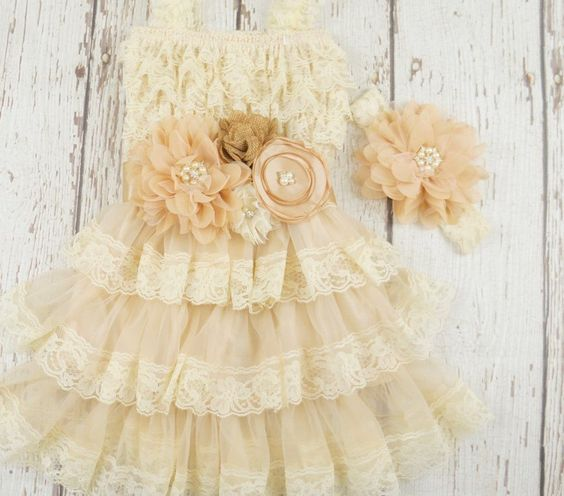 Free Shipping! Lace baby dress, rustic girl dress, flower girl dress, flower girl dresses, lace flower girl dress, country flower girl, champagne dress (USE CODE SHIPFREE)