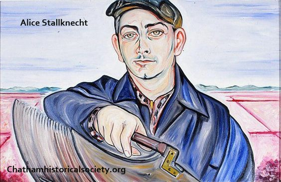 """From Alice Stallknecht's mural """"Every Man to His Trade."""" A color photograph of a portrait of Benj. Nickerson –Photo by William Hayes. #chatham, #alicestallknecht, #mural, #muralbarn, #capecod, #chathamhistoricalsociety, #oilportrait"""