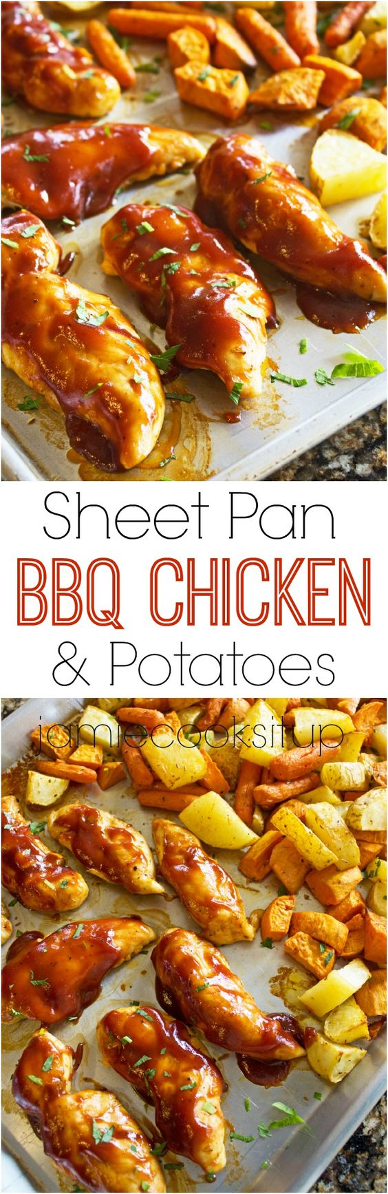 Sheet Pan BBQ Chicken and Potatoes from Jamie Cooks It Up!