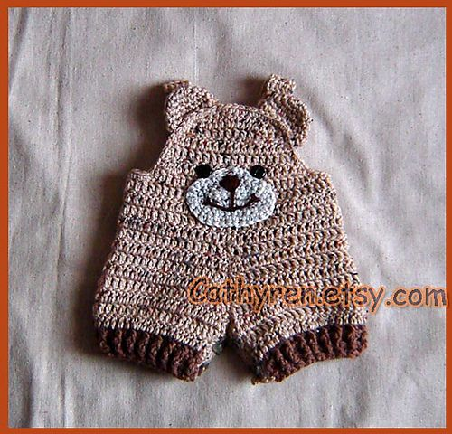 baby teddy bear overalls shortalls pattern by cathy ren. Black Bedroom Furniture Sets. Home Design Ideas