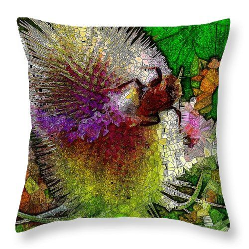 Teasel And Bee Stained Glass Throw Pillow For Sale By Mo Barton Throw Pillows Pillows Pillow Sale