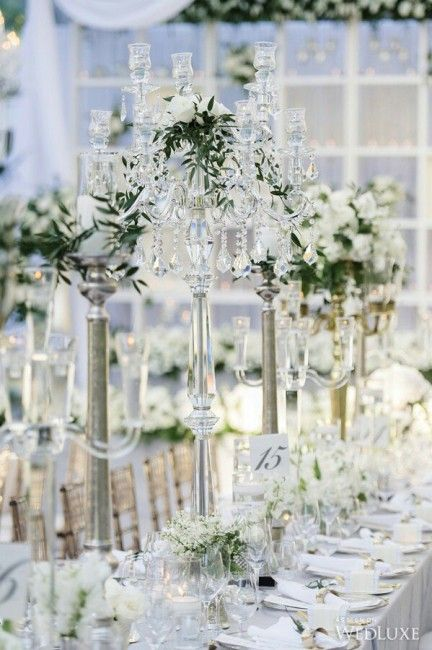 ... mariage blanc  Mariage luxe  Pinterest  Deco mariage, Tables d