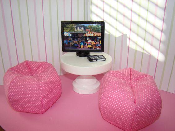 Barbie Furniture - Pink and White Mini Polka Dot Bean Bag Chair. $9.00, via Etsy.