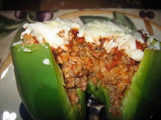Italian Stuffed Peppers with rice, beef, spaghetti sauce, etc