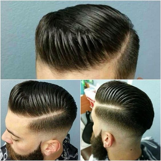Crisp fade and pomp with hard part   That's My Style ...