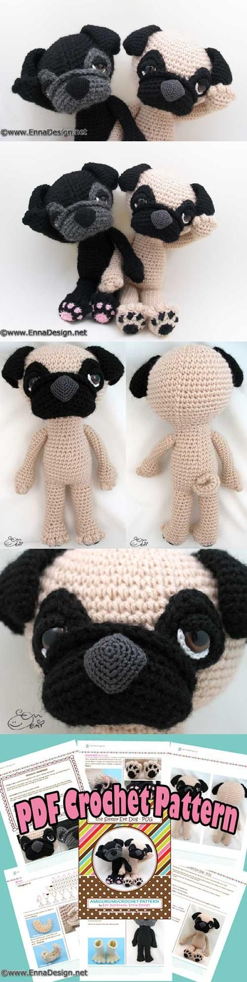 Free Crochet Pattern For Pug Dog : Sleepy-eyed pug amigurumi pattern by Emi Kanesada (Enna ...