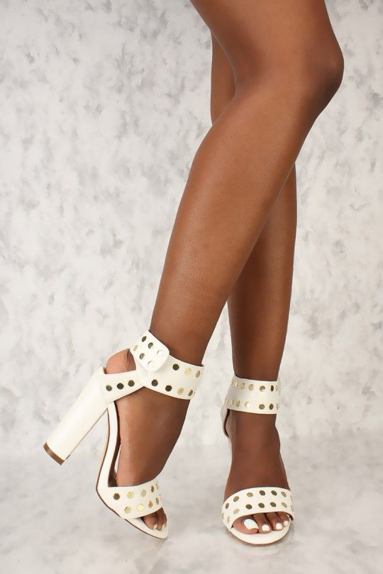 092f2c8d3ad8 Sexy White Open Toe Ankle Strap Studded Accent Single Sole Chunky High Heels  Faux Leather