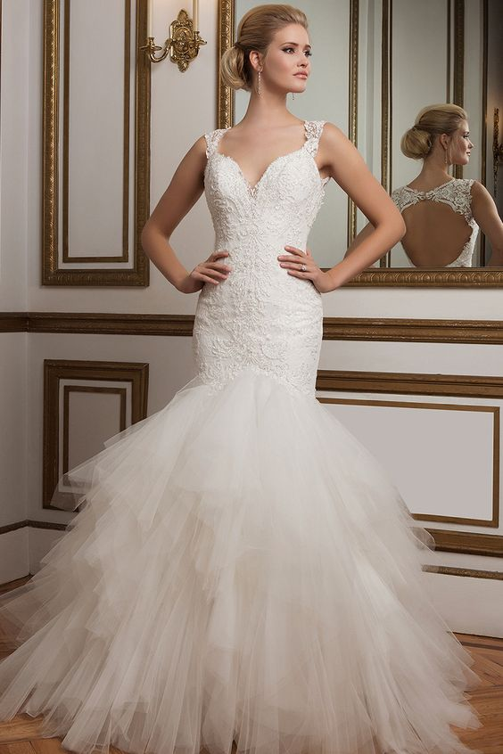 Beaded Chantilly lace mermaid gown from Justin Alexander