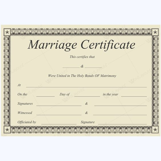 Formal Marriage Certificate #marriage #certificate #template - blank divorce decree