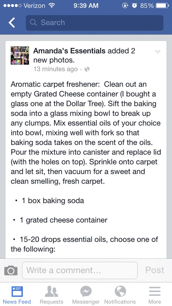 Carpet freshener hints