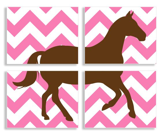The Kids Room Brown Horse on Pink Chevron 4 pc Wall Plaque Set