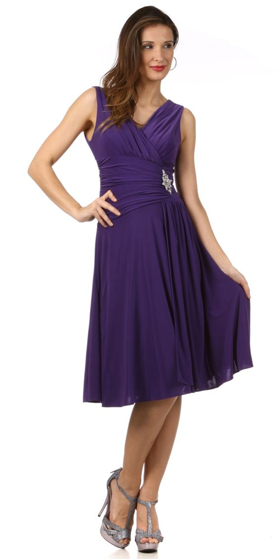 V neckline cocktail dress violet