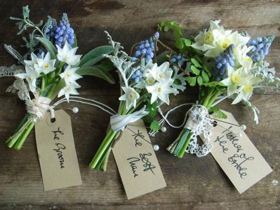 I have pinned several bouquets that would be gorgeous alongside these dapper boutonnieres from The Blue Carrot - Wild By Nature: