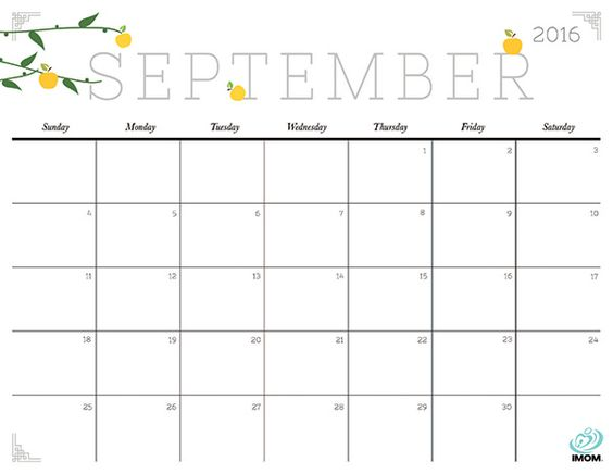 Download iMOM's Free September 2016 printable calendar. Fall is the beginning of busy. Stay on track with our calendar and rekindle a love for this season with our harvest apple design.