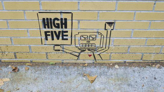 High Five robot street art