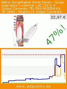 Belkin SurgeMaster Home Series - Surge suppressor ( external ),AC 250 V, 4 Output Connector TEL/FAX/MODEM/AV, 2M white - Regleta (4 Output Connector TEL/FAX/MODEM/AV, 2M white, 714 J, 250 V, 2 m, Color blanco, 1 x power BS 1363) (Electrónica). Baja 47%! Precio actual 22,97 €, el precio anterior fue de 43,62 €. http://www.adquisitio.es/fabricado-marca/belkin-surgemaster-home-1