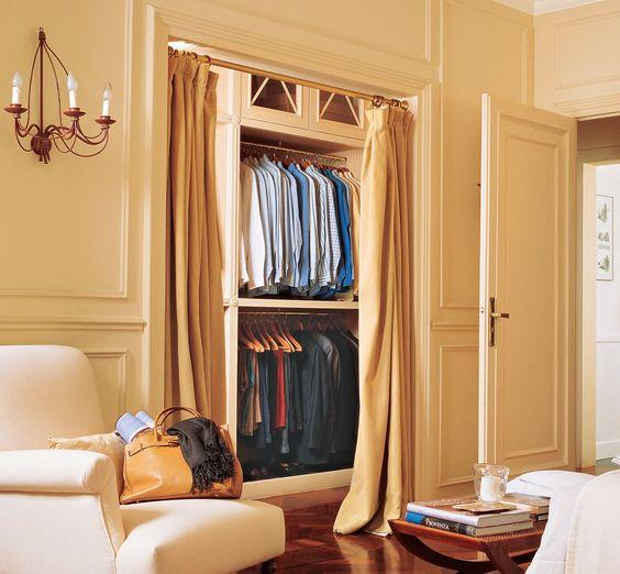 Adesivo De Chão Para Casamento ~ Un vestidor sin puertas Las cortinas pueden separar ambientes Son del mismo color que la pared