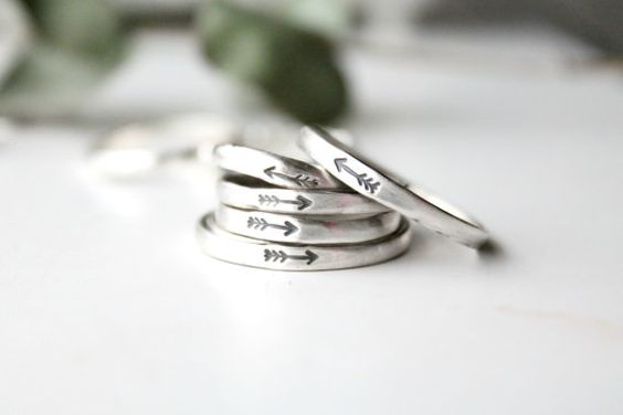 Handstamped Arrow ring made to order in solid sterling silver. Half round wire for a comfortable fit.  The meaning of the above single arrow