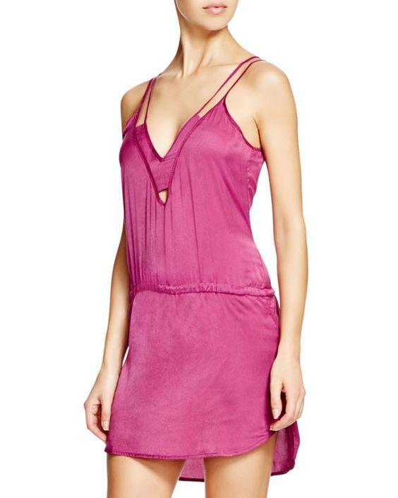 Sofia by Vix Solid Grape Dress Swim Cover Up