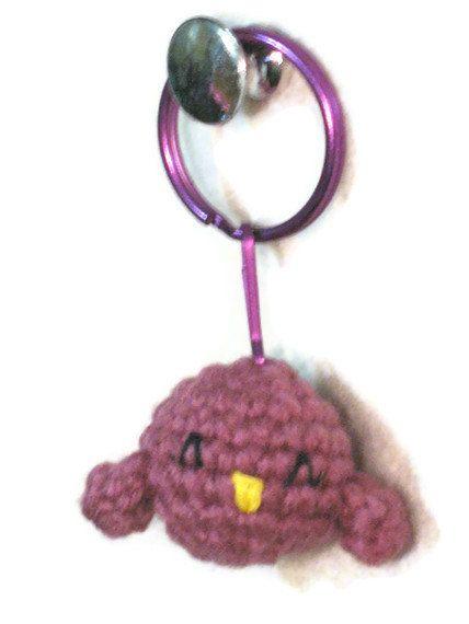 Purple bird amigurumi keychain by indigocrochet on Etsy, $9.00