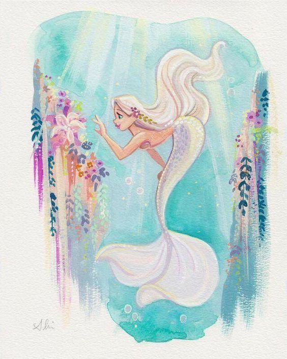 Water Color Mermaid Love The White Hair Matching The Tail With