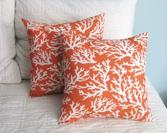 Orange and White Branch Coral Pillow Covers by DesignsByNancyT, $38.00 #beach+house #home+decor ...
