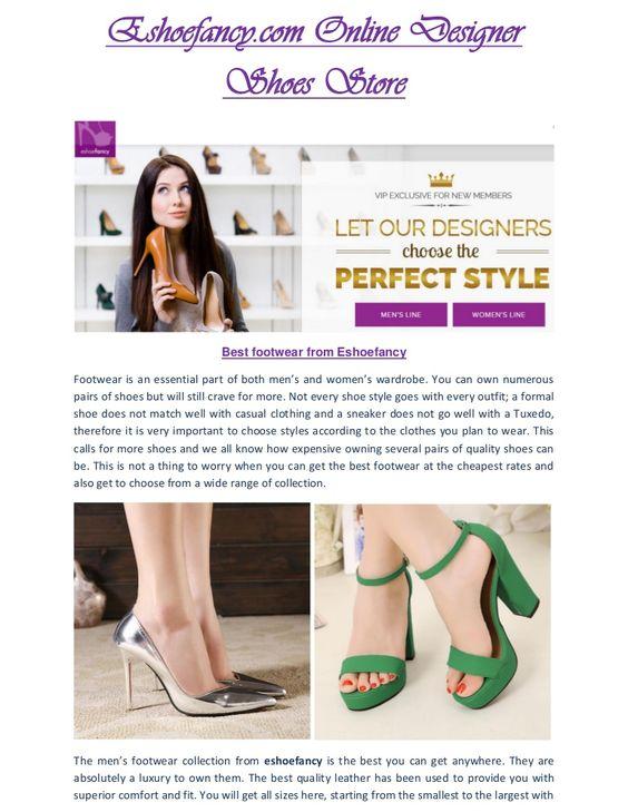 http://www.slideshare.net/EshoeFancy1/eshoefancycom-eshoefancy-the-ultimate-choice-of-footwear Read this newly submitted PDF of Eshoefancy at Slideshare profile.