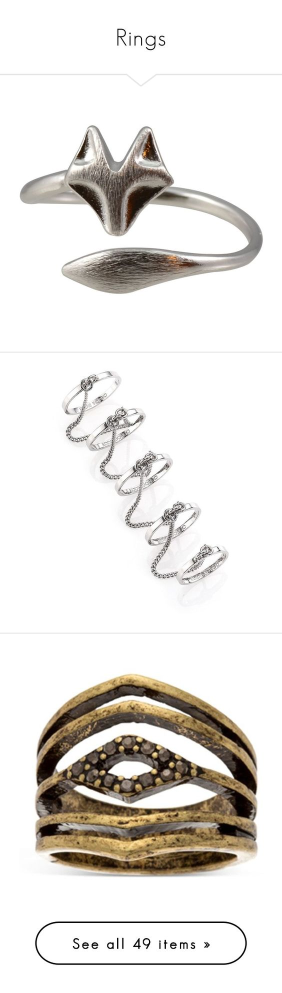 """Rings"" by lizzydakitty ❤ liked on Polyvore featuring jewelry, rings, silver plating jewelry, wrap rings, silver plated jewelry, fox ring, silver plated rings, silver, apparel & accessories and chain ring"