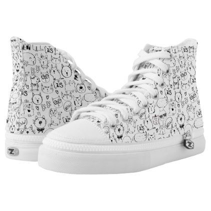 Cat Doodles Funny Black and White Kitties Pattern High-Top Sneakers