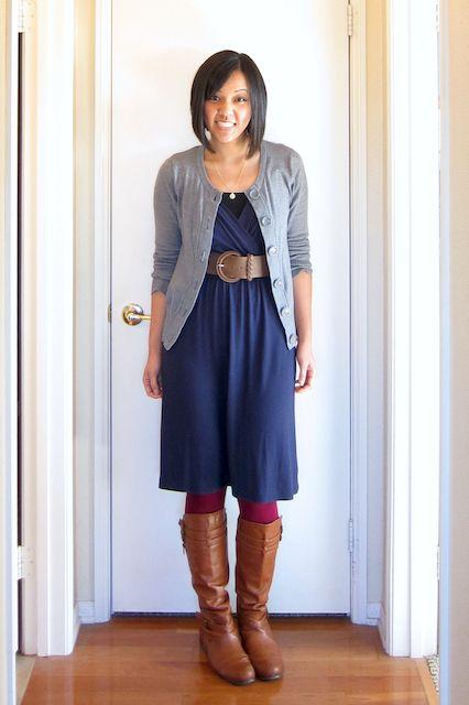blue dress grey cardigan brown boots burgundy tights