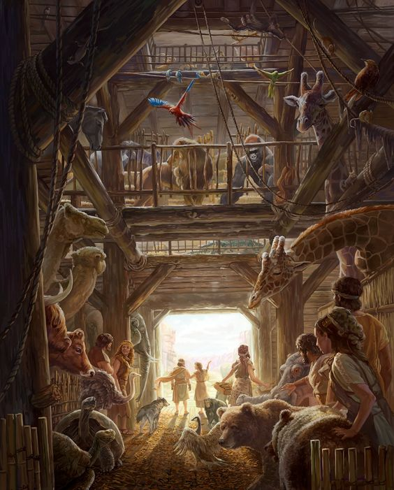 Noach, zijn gezin en de dieren verlaten de ark