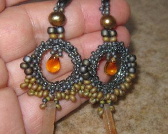 """forgive me; """"Romancing the Stones"""" Gorgeous seed bead woven earrings. Real Carnelian daggers, Amber drops and big gold fresh water pearls. Exquisite stitchery by BeadXilla"""